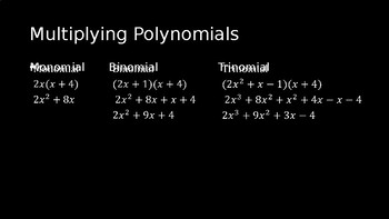 Multiplying Polynomials - PowerPoint Lesson (3.3)