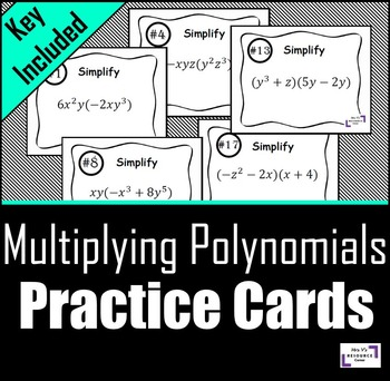 Multiplying Polynomials Practice Cards