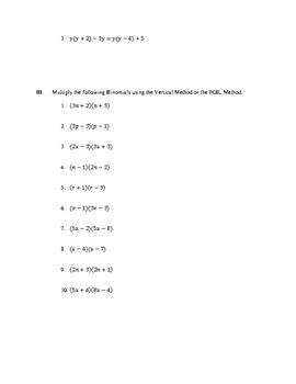 Multiplying Polynomials Quiz No. 1