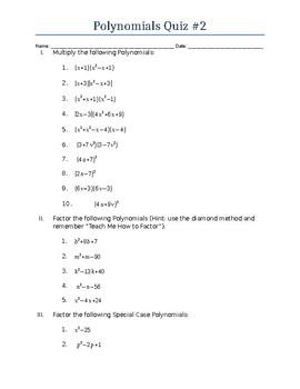 Multiplying Polynomials Quiz No. 2