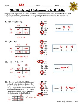Multiplying Polynomials (Special Cases) Riddle