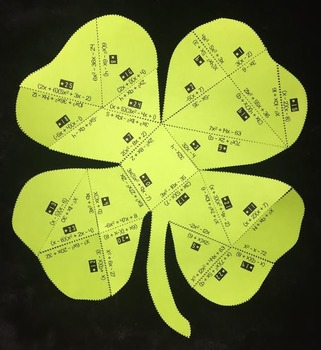Multiplying Polynomials (Shamrock- Shaped PUZZLE/ St. Patr