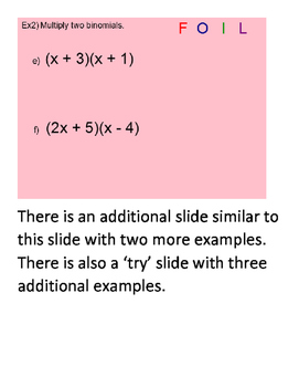 Multiplying Polynomials SmartBoard Lesson