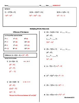 Multiplying Polynomials - Special Cases - Guided Notes