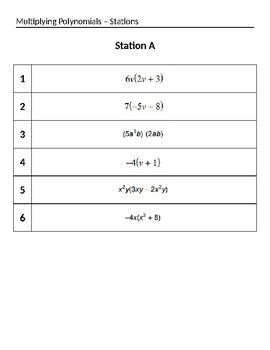 Multiplying Polynomials Stations