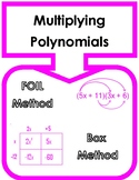 Multiplying Polynomials Word Wall