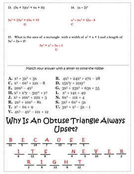 Multiplying Polynomials Activity {Multiplying Polynomials Worksheet 11th 12th}