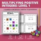 Multiplying Positive Integers Level 1 Math Bingo Review Game
