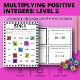 Multiplying Positive Integers Level 2 Math Bingo Review Game