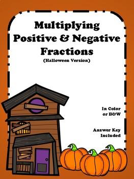 Maze - Multiplying Positive & Negative Fractions - (Halloween Version)