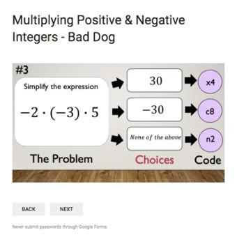 Multiplying Positive & Negative Integers – Bad Dog Breakout for Google Classroom