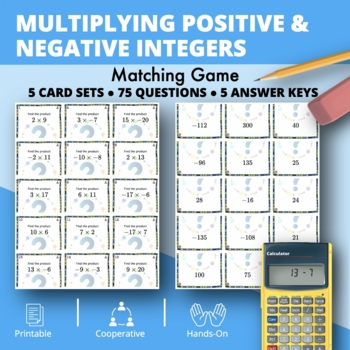 Multiplying Positive & Negative Integers Matching Game