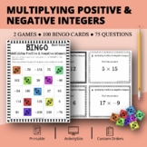 Multiplying Positive & Negative Integers Math Bingo Review Game