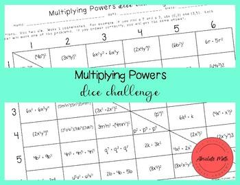 Multiplying Powers Partner Dice Game