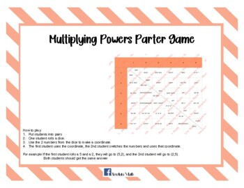 Multiplying Powers Partner Dice Game
