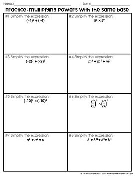 Multiplying Exponents Notes