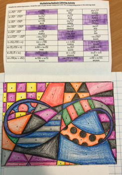 Multiplying Radical Expressions Color activity - Algebra 2
