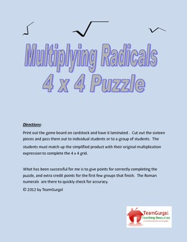Multiplying Radicals 4x4 Math Puzzles