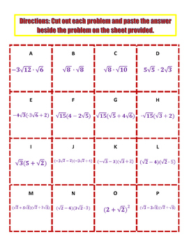 Multiplying Radicals Activity