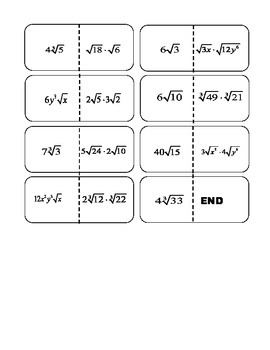 Multiplying Radicals Dominos