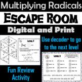Multiplying Radicals Game: Algebra Escape Room Math Activity