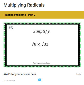 Multiplying Radicals - Google Form & Video Lesson!