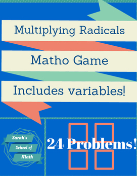 Multiplying Radicals MATHO Game-includes variables!