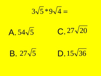 Multiplying Radicals Multiple Choice Quiz PowerPoint