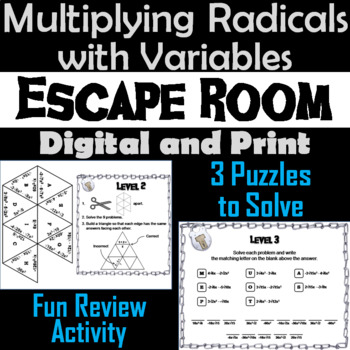 Multiplying Radicals with Variables Game: Algebra Escape Room Math Activity