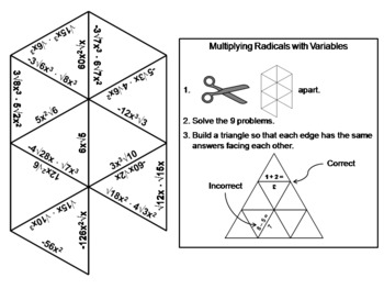 Multiplying Radicals with Variables Game: Math Tarsia Puzzle