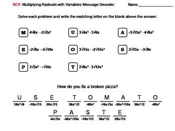 Multiplying Radicals with Variables Worksheet: Math Message Decoder