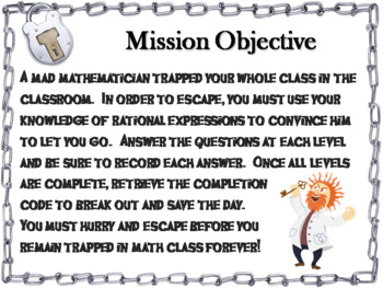 Multiplying Rational Expressions Game: Algebra Escape Room Math Activity