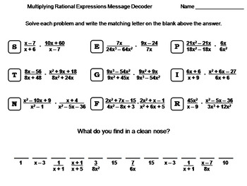 multiplying rational expressions worksheet math message decoder - Multiplying Rational Expressions Worksheet