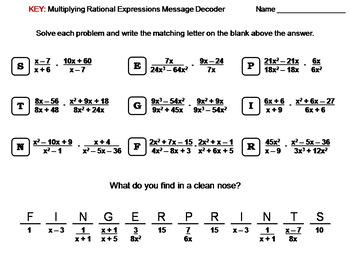 Multiplying Rational Expressions Worksheet: Math Message Decoder