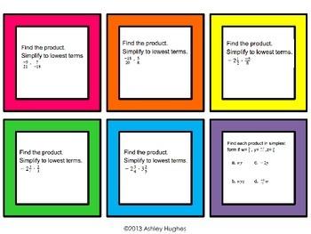 Multiplying Rational Number Task Cards