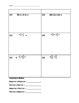 Multiplying Rational Numbers 7.NS.2