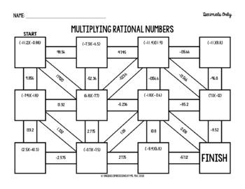Multiplying Rational Numbers Digital Maze (Decimals)