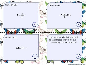 Multiplying Rational Numbers Task Cards (Scoot!)