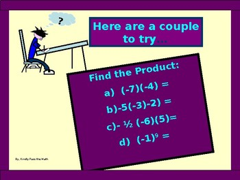 Power-Point:  Multiplying Real Numbers in Algebra