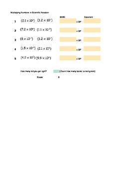 Multiplying Scientific Notation Interactive Worksheet