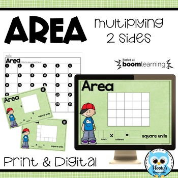 Multiplying Sides to Find Area - Digital & Print Task Cards