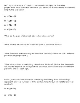 Multiplying Special Case Binomials Discovery Lesson and Notes