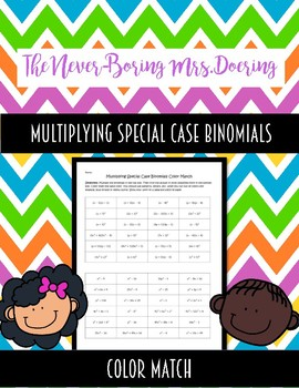 Multiplying Special Case Polynomials Color Match Activity