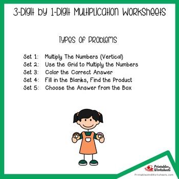 3 x 1 Digit Multiplication Worksheets, Multiplying Standard Algorithm Sheets