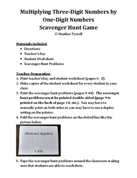 Multiplying Three-Digit Numbers by One-Digit Numbers Scavenger Hunt Game