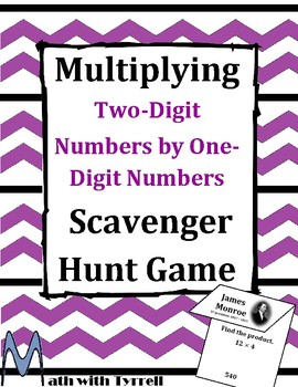Multiplying Two-Digit Numbers by One-Digit Numbers Scavenger Hunt Game