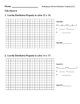 Multiplying Two Digit Numbers with the Distributive Property, Grids