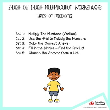 2 Digit by 1 Digit Multiplication Worksheets For Practice, Assessment
