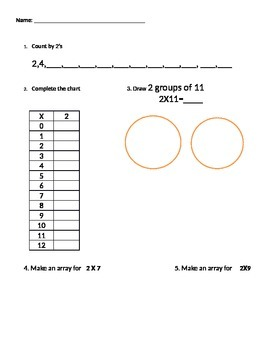 Multiplying Two's Questions aligned with Common Core