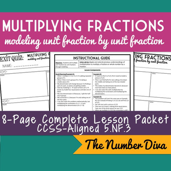 Multiplying Unit Fractions with Modeling, 8-page Lesson Packet + Quiz, 5.NF.B.4